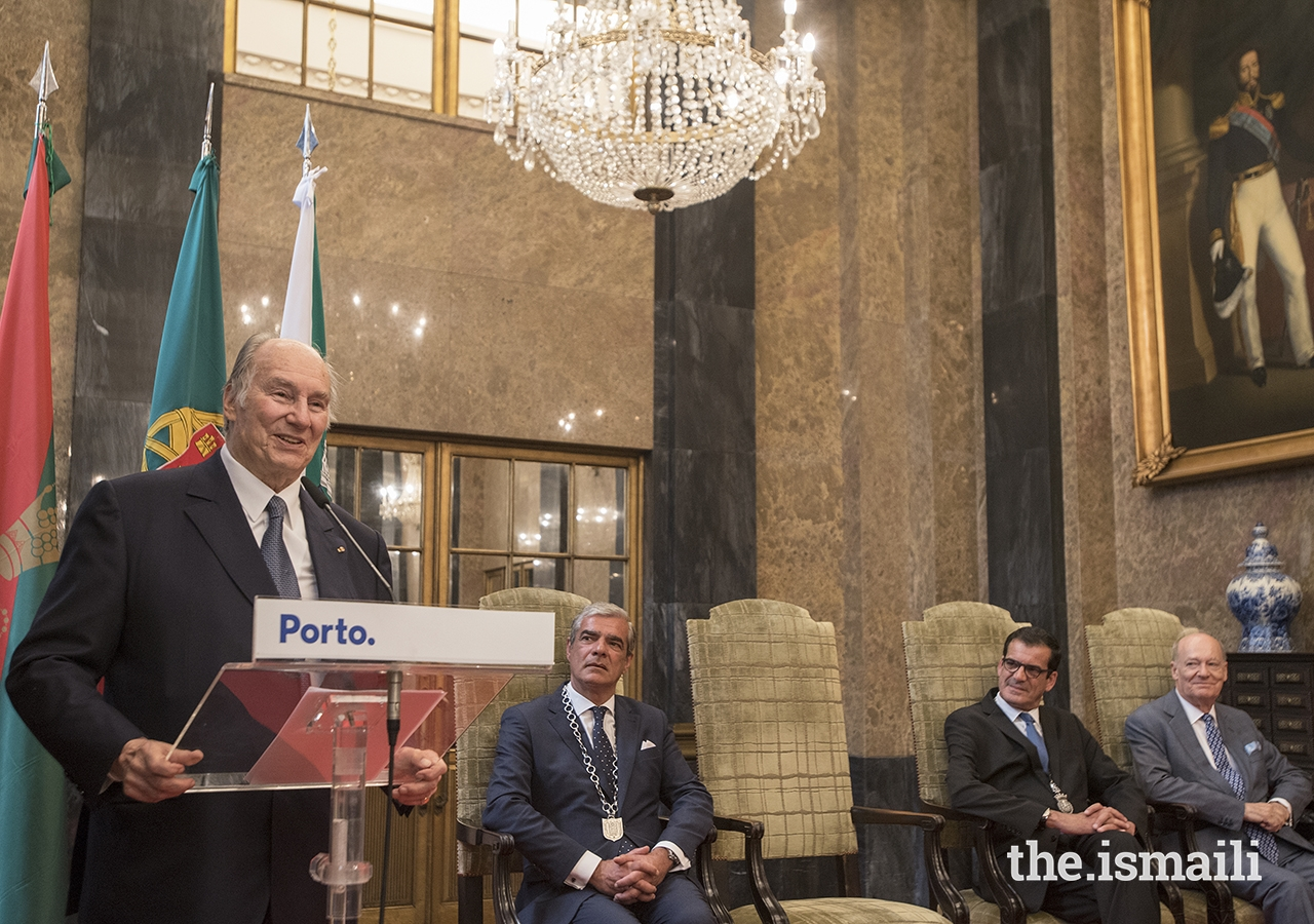 Mawlana Hazar Imam addresses guests gathered at the Noble Hall at Porto City Hall, upon being conferred the Keys of the City of Porto.