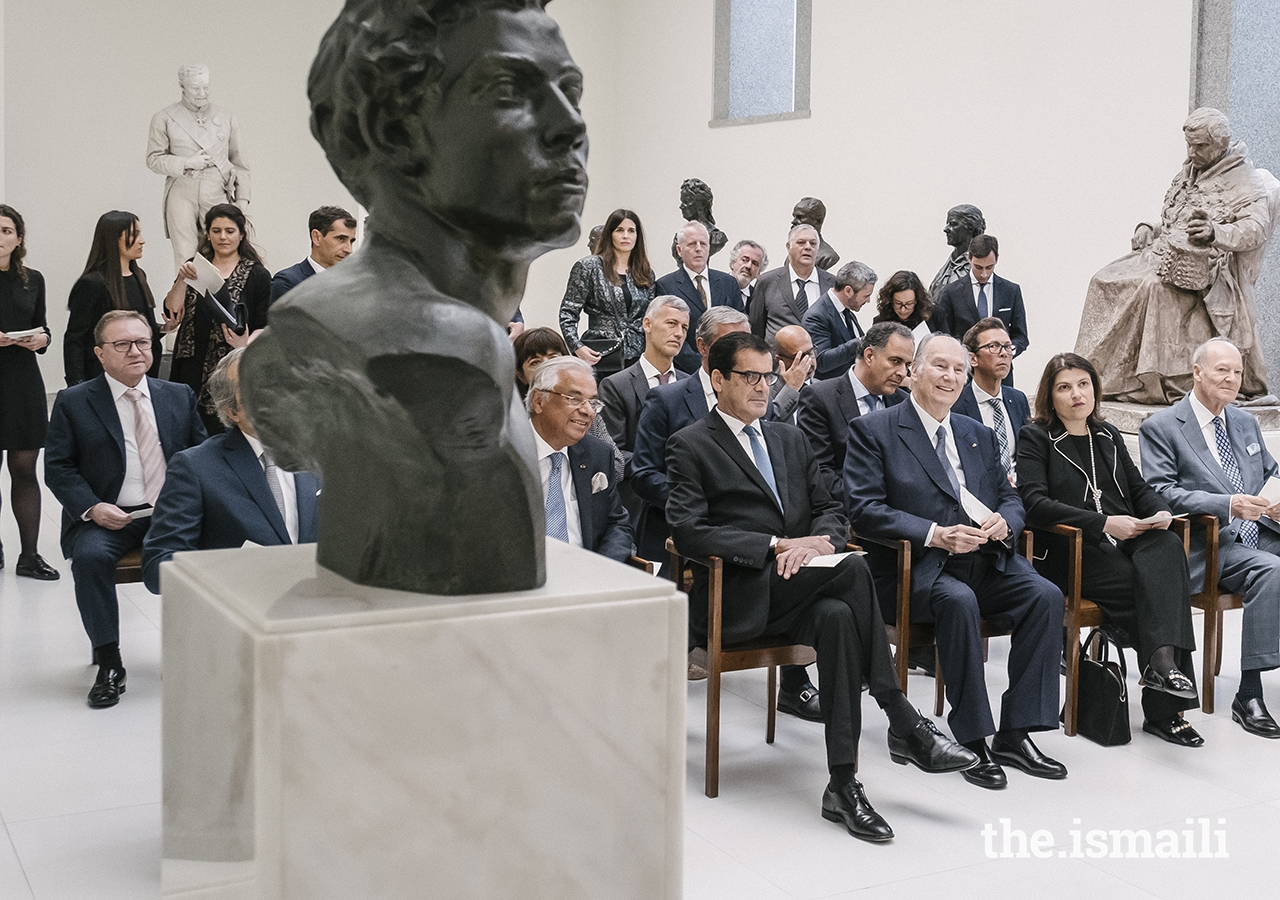 Mawlana Hazar Imam and guests listen to a performance by Orquestra Barroca from Casa da Música, a leading musical institution located in Porto, in the Galeria de Escultura.