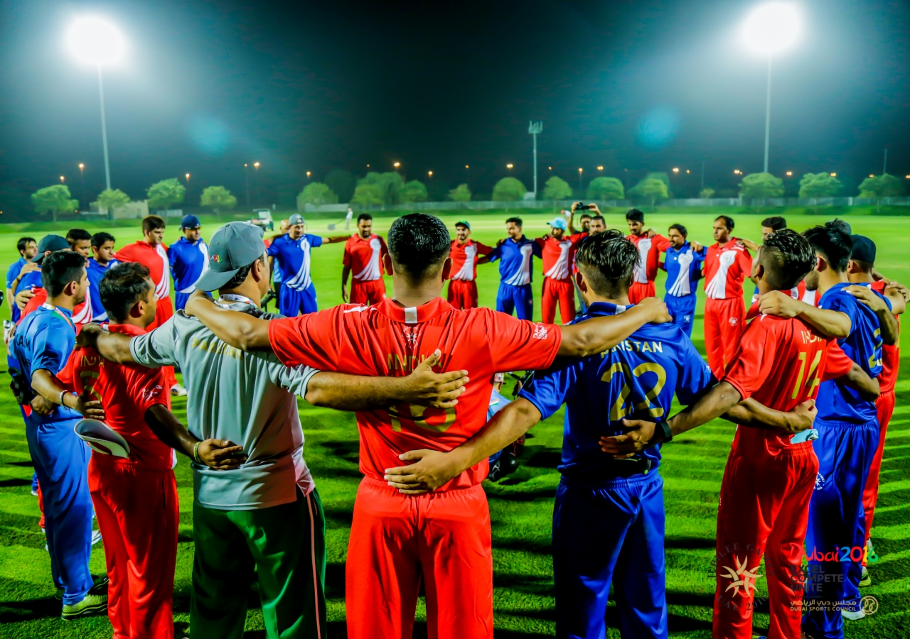 Before the game, Team India and Team Pakistan come together in the spirit of unity. JG/Shamsh Maredia