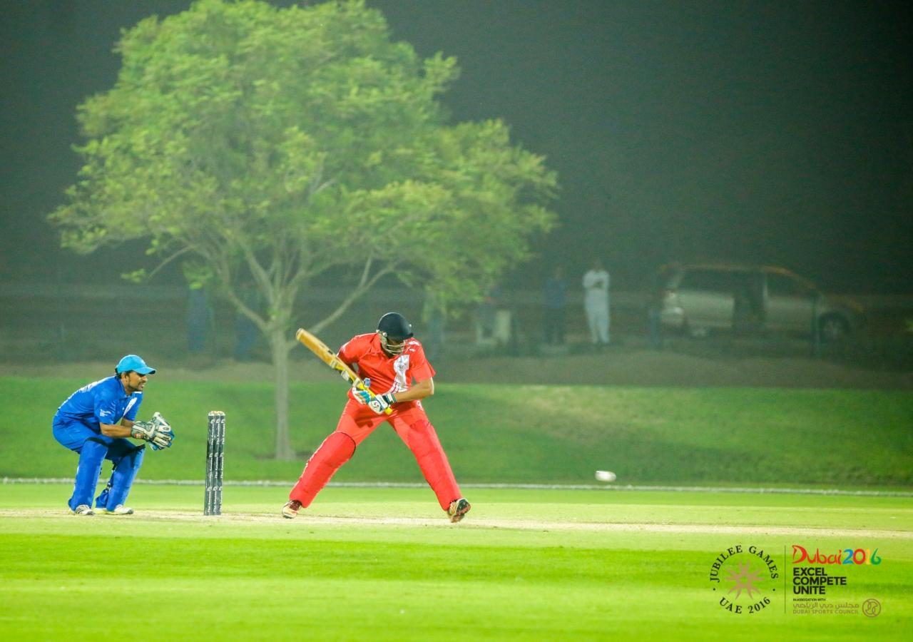 Team India's batsman playing a defensive shot against Team Pakistan's bowling. JG/Shamsh Maredia