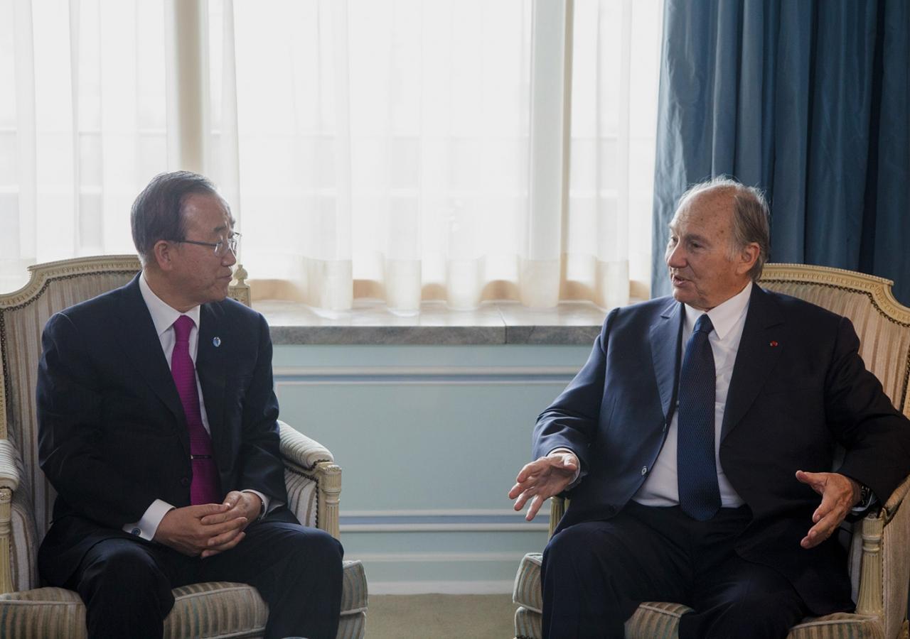 Mawlana Hazar Imam meets with United Nations Secretary-General Ban Ki-moon. AKDN / Luis Filipe Catarino