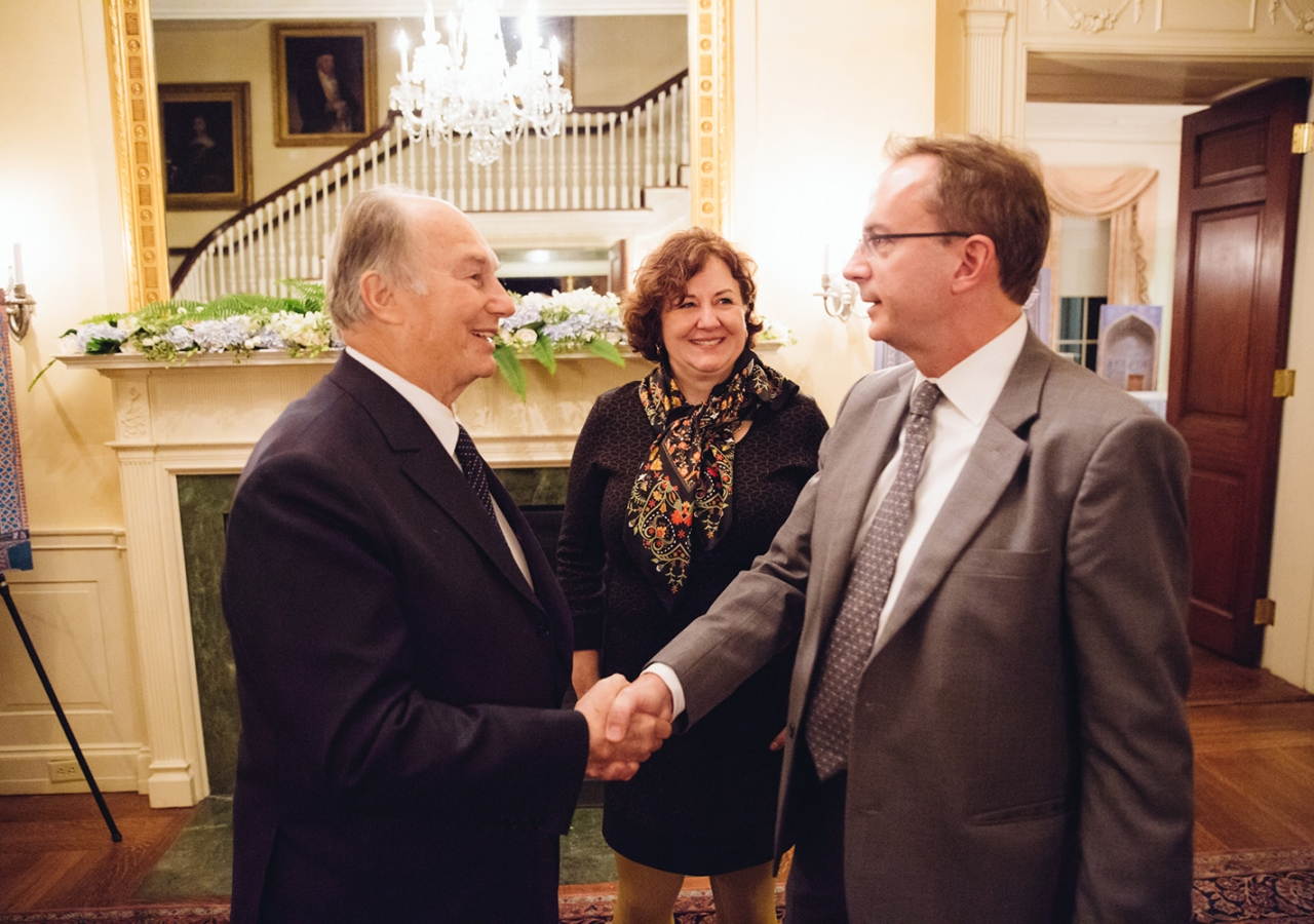 Harvard Vice Provost Mark Elliott and Michele Lamont, Director of the Weatherhead Center bid farewell to Mawlana Hazar Imam after the dinner and reception that followed the Jodidi Lecture. Farhez Rayani