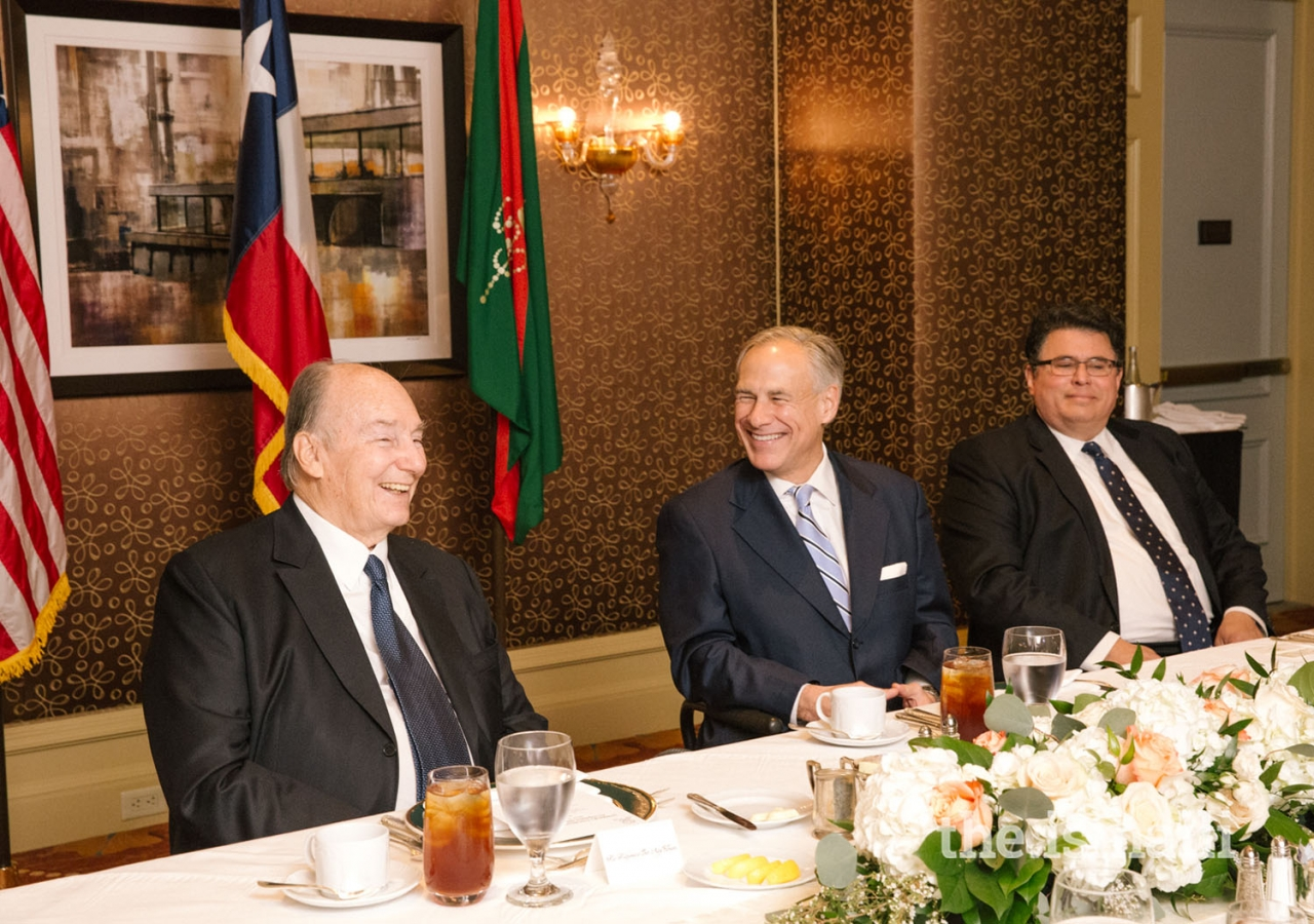 Mawlana Hazar Imam with Governor of Texas Greg Abbott and Secretary of State for Texas Rolando Pablos.