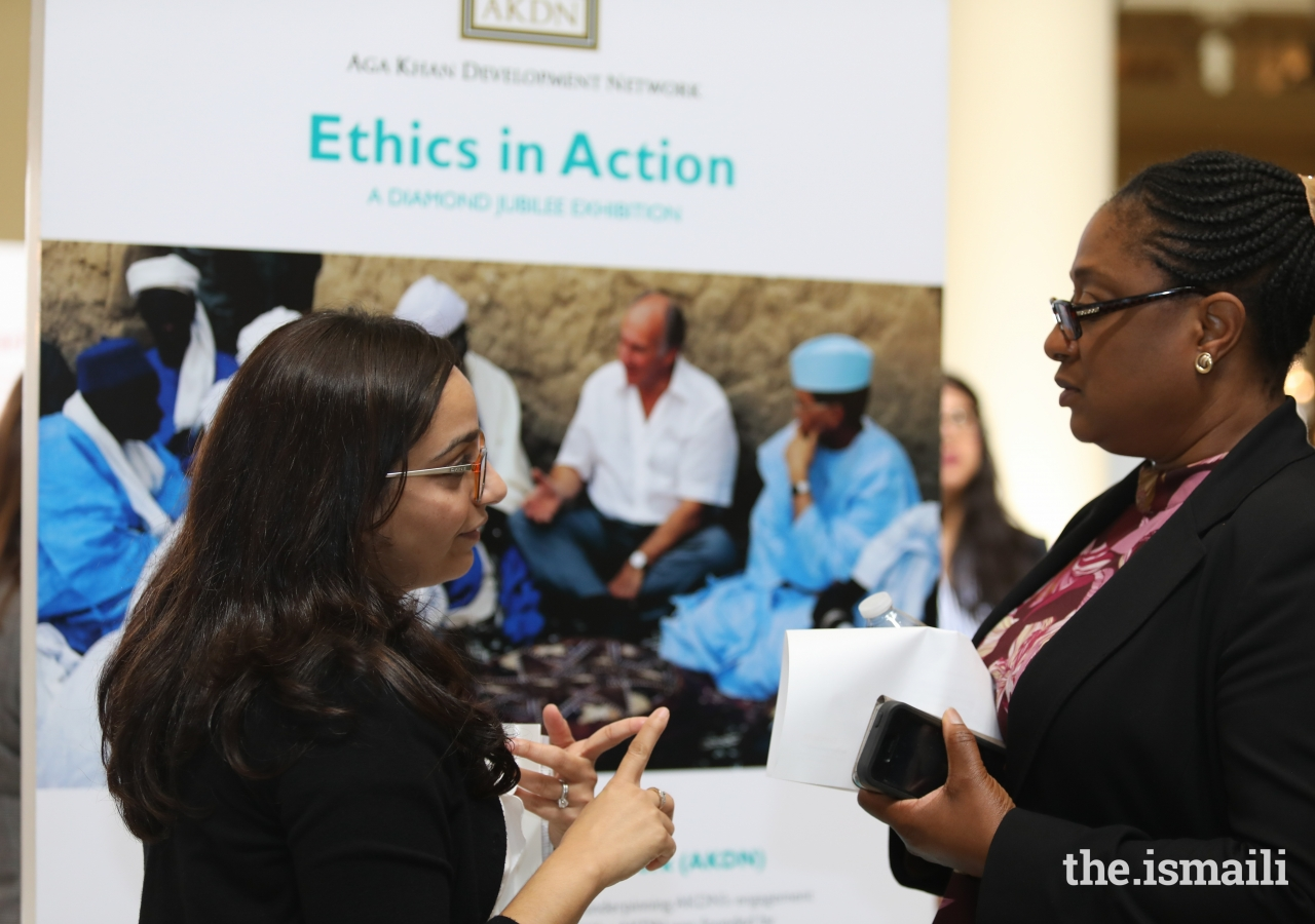 Valerie Mills, Senior Program Manager, Office of the Mayor, City of Atlanta, with Nissa Kara at the Ethics in Action Exhibition at the Georgia State Capitol, Atlanta, GA.