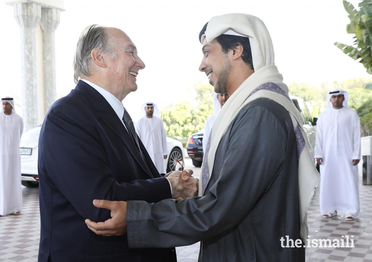 His Highness Sheikh Mansour bin Zayed Al Nahyan welcomes Mawlana Hazar Imam.