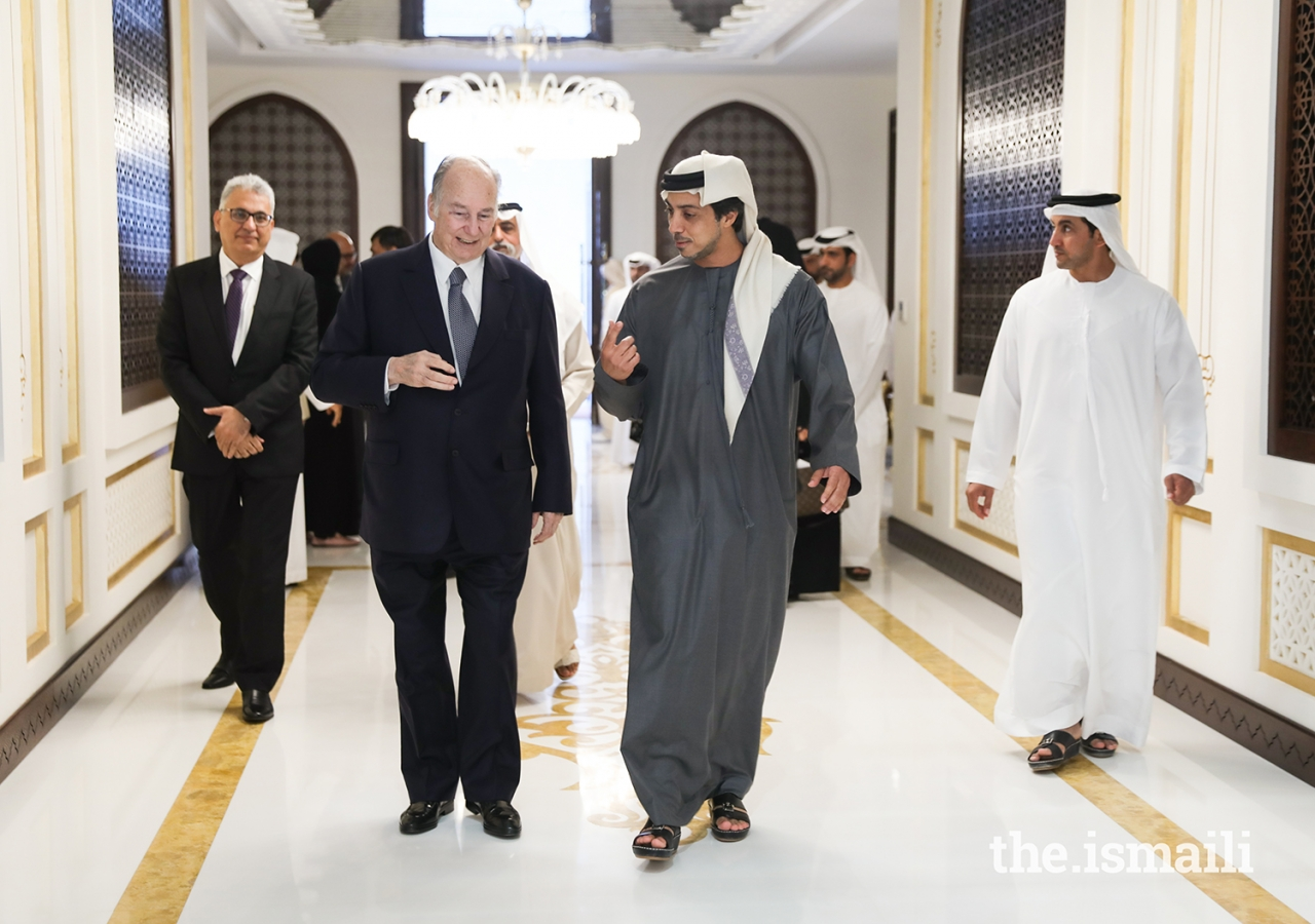 Mawlana Hazar Imam in Abu Dhabi with His Highness Sheikh Mansour bin Zayed Al Nahyan.