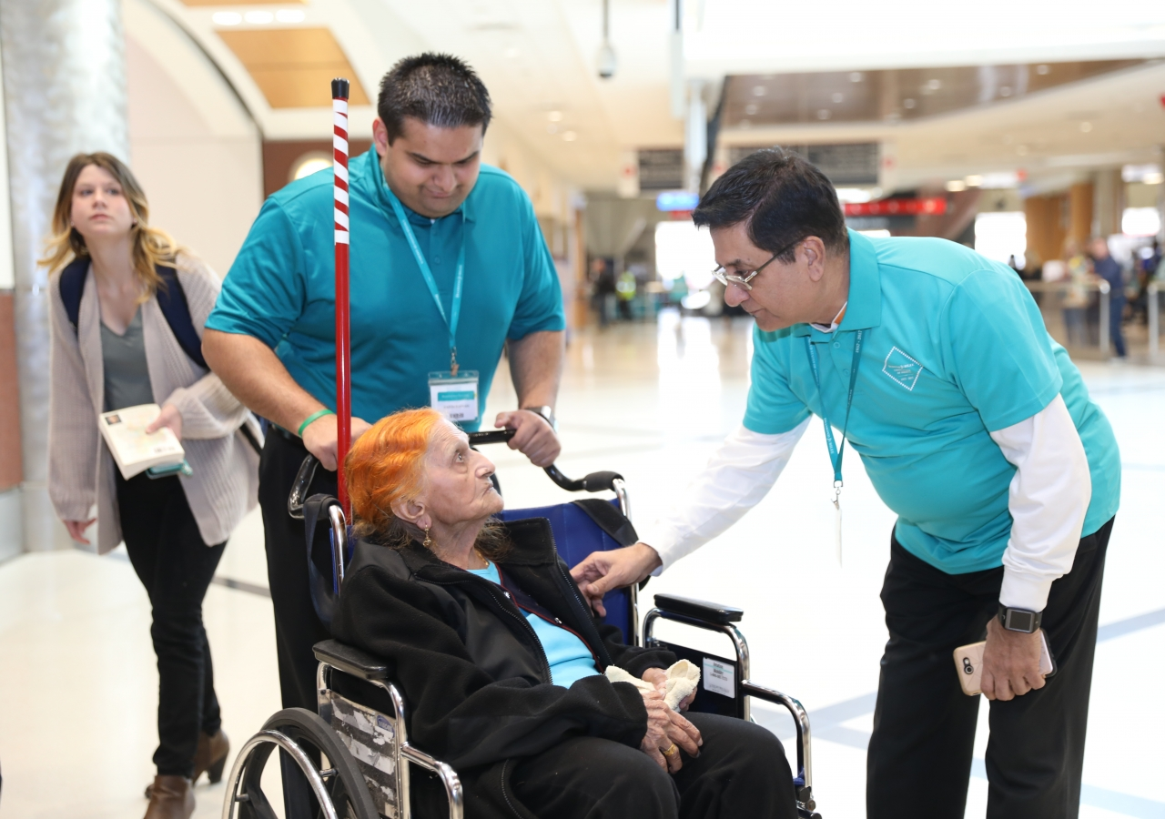 Seniors of the Jamat are greeted by volunteers at Atlanta Airport on March 13, 2018.
