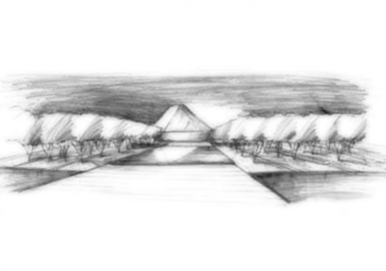 A conceptual pencil sketch of the Aga Khan Park in Toronto, designed by landscape architect Vladimir Djurovic. AKTC