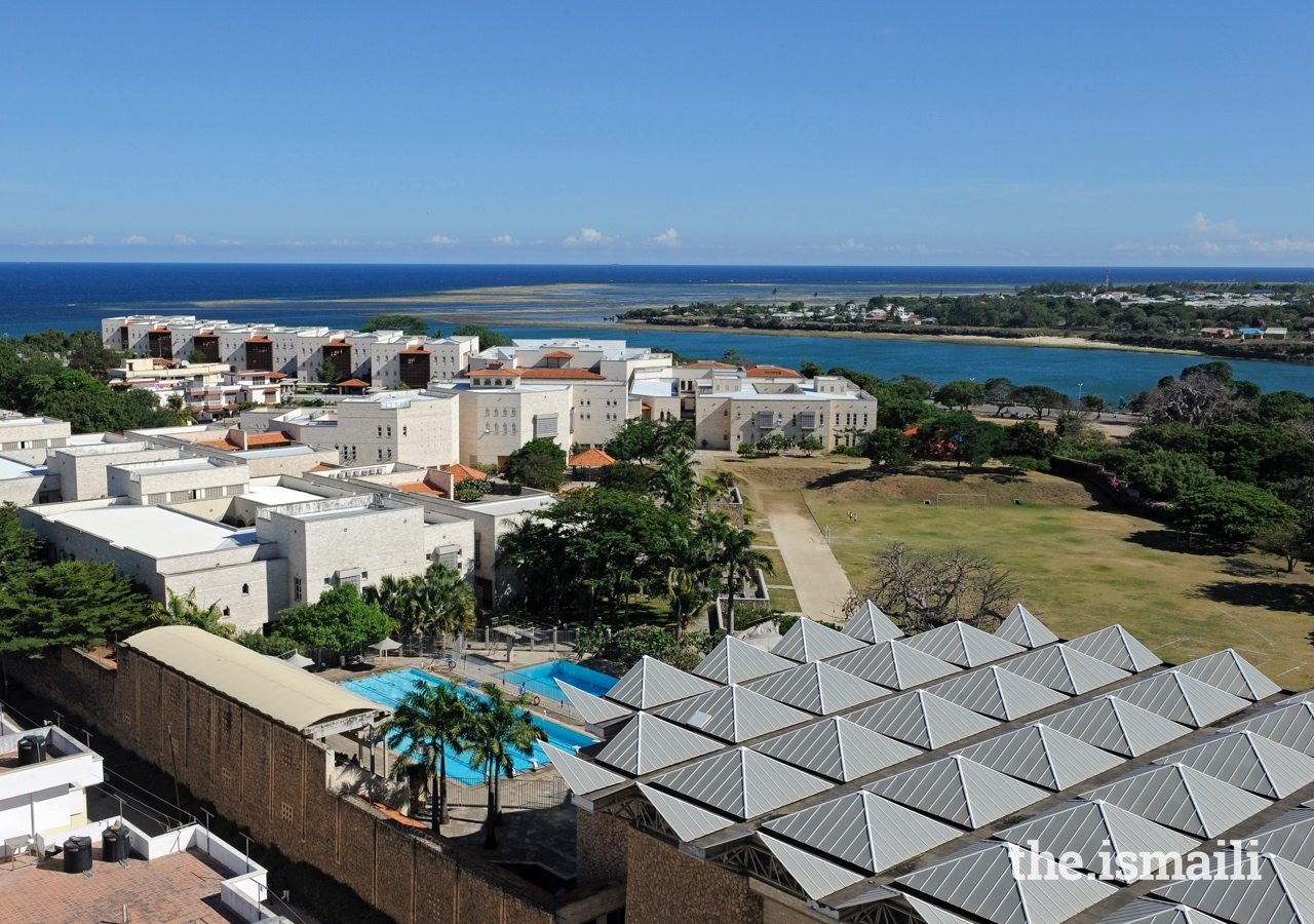 Ariel view of the Aga Khan Academy's campus in Mombasa. The Aga Khan Academies provide state-of-the-art sporting facilities, where students can excel in football, basketball, swimming, cricket, and hockey, among other sports.