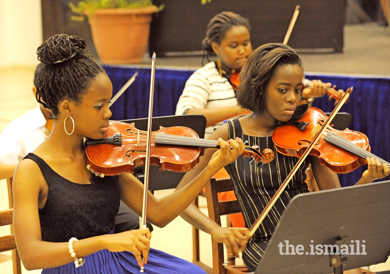 Students at a music rehearsal at the Aga Khan Academy.