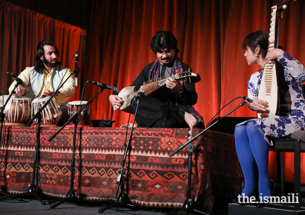 A performance by artists of the Aga Khan Music Initiative Ensemble – Homayoun Sakhi on the Afghan rubab, Salar Nader on the tabla, and Wu Man on the pipa.