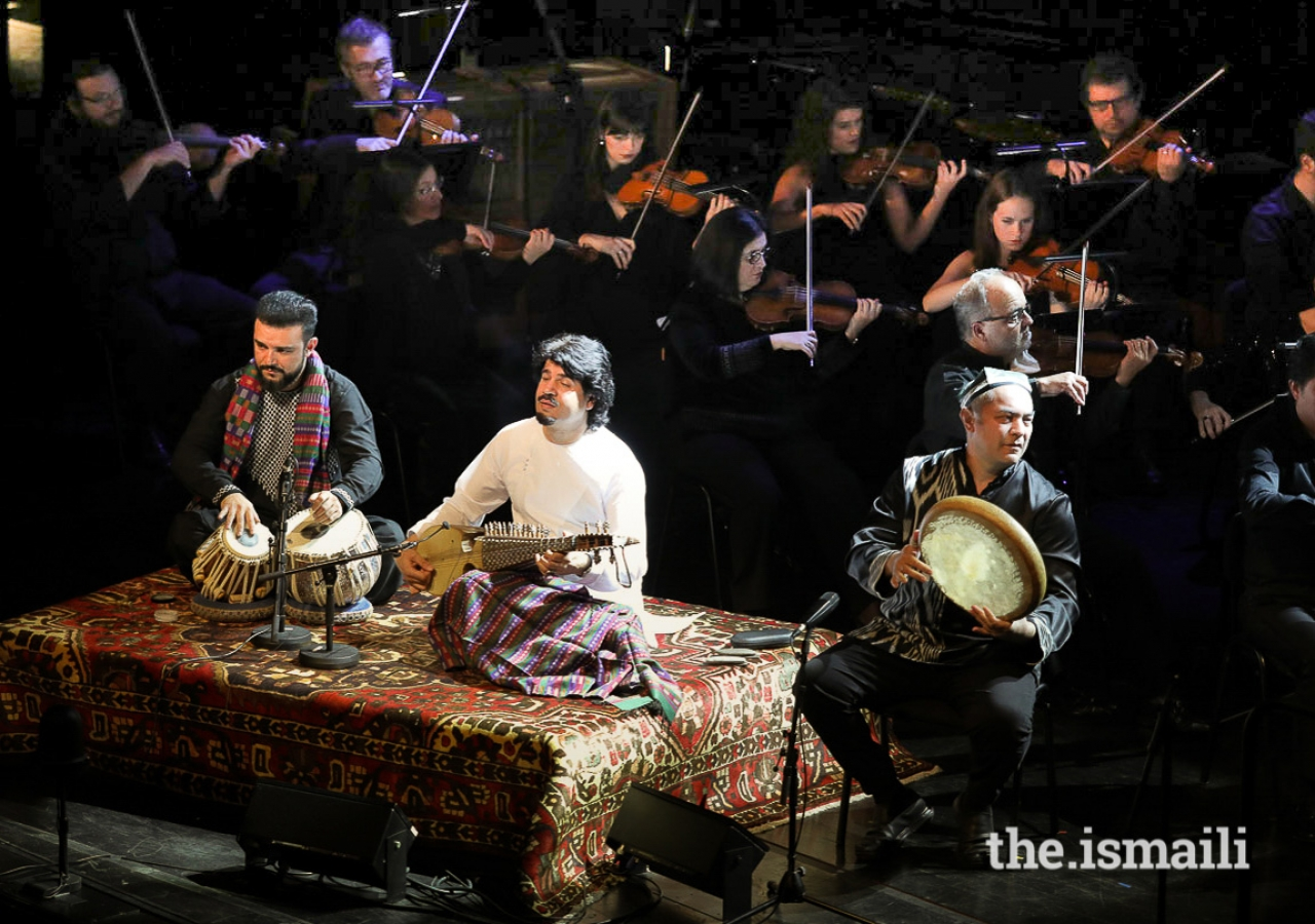 Siar Hashimi, Homayoun Sakhi, and Abbos Kosimov performing at the first event of the inaugural Aga Khan Music Awards.