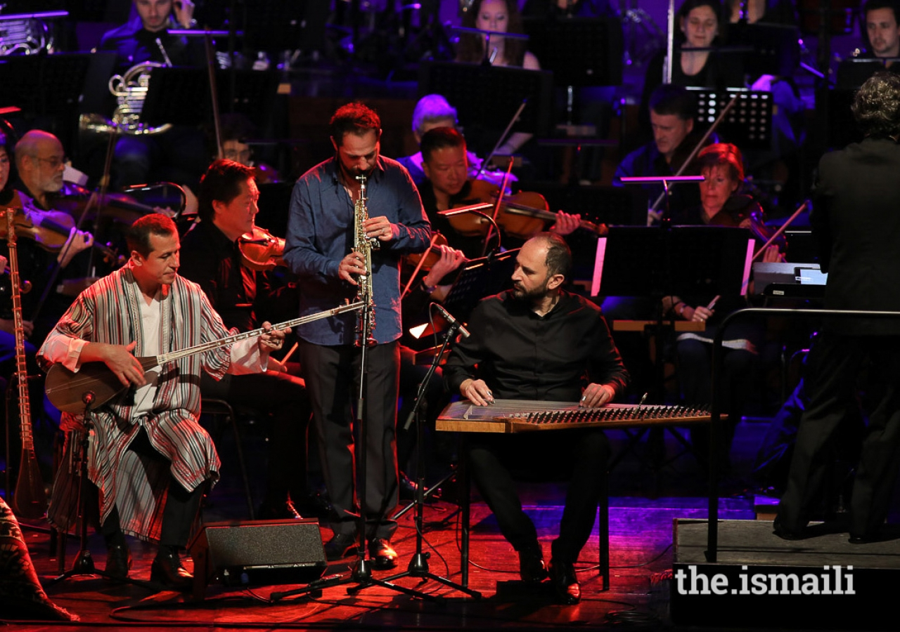 Master Musicians performing along with the Gulbenkian Orchestra at the first event of the inaugural Aga Khan Music Awards.