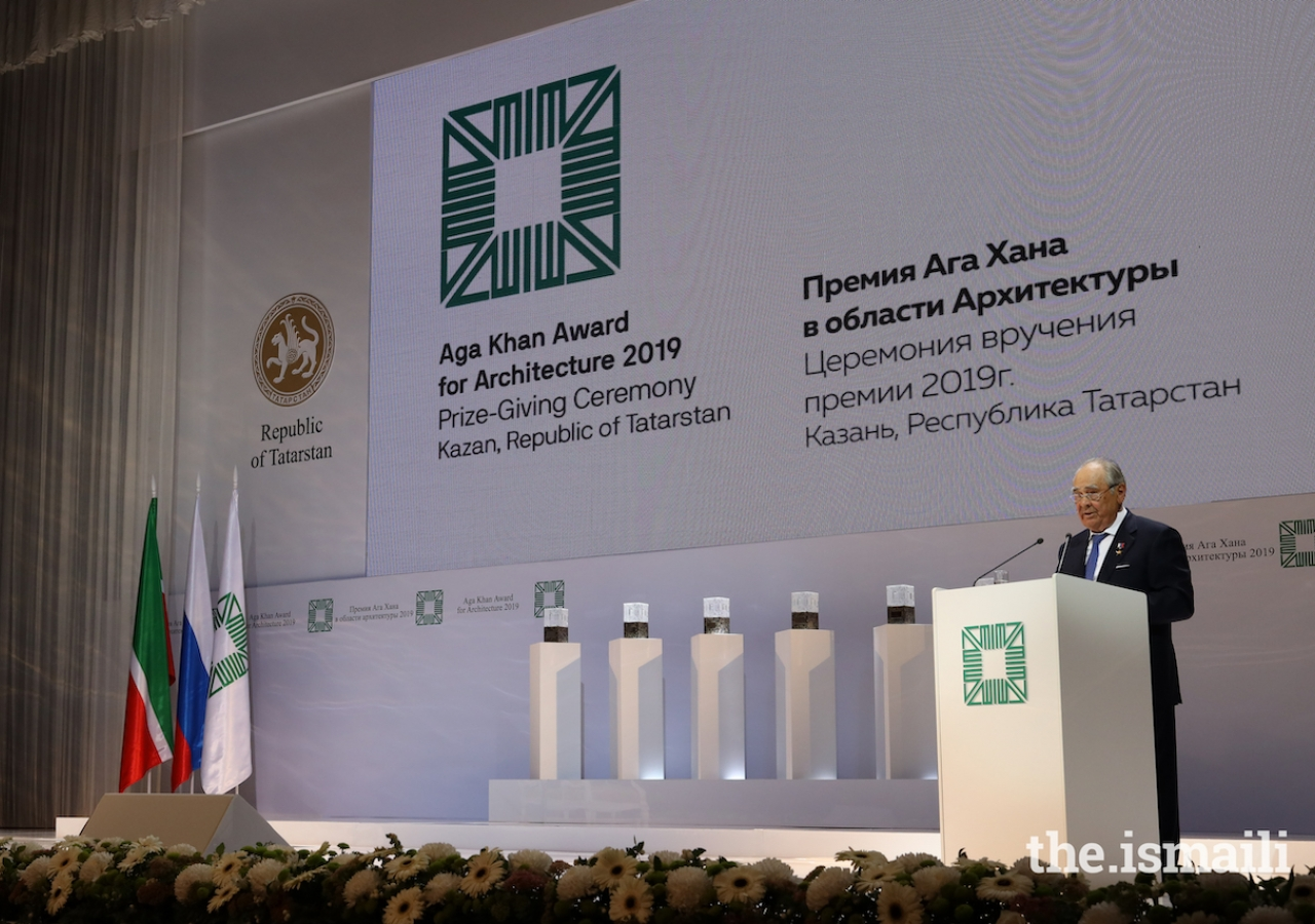 Mintimer Shaimiev, State Councellor of Tatarstan delivers remarks at the Aga Khan Award for Architecture Ceremony in Kazan on 13 September 2019.