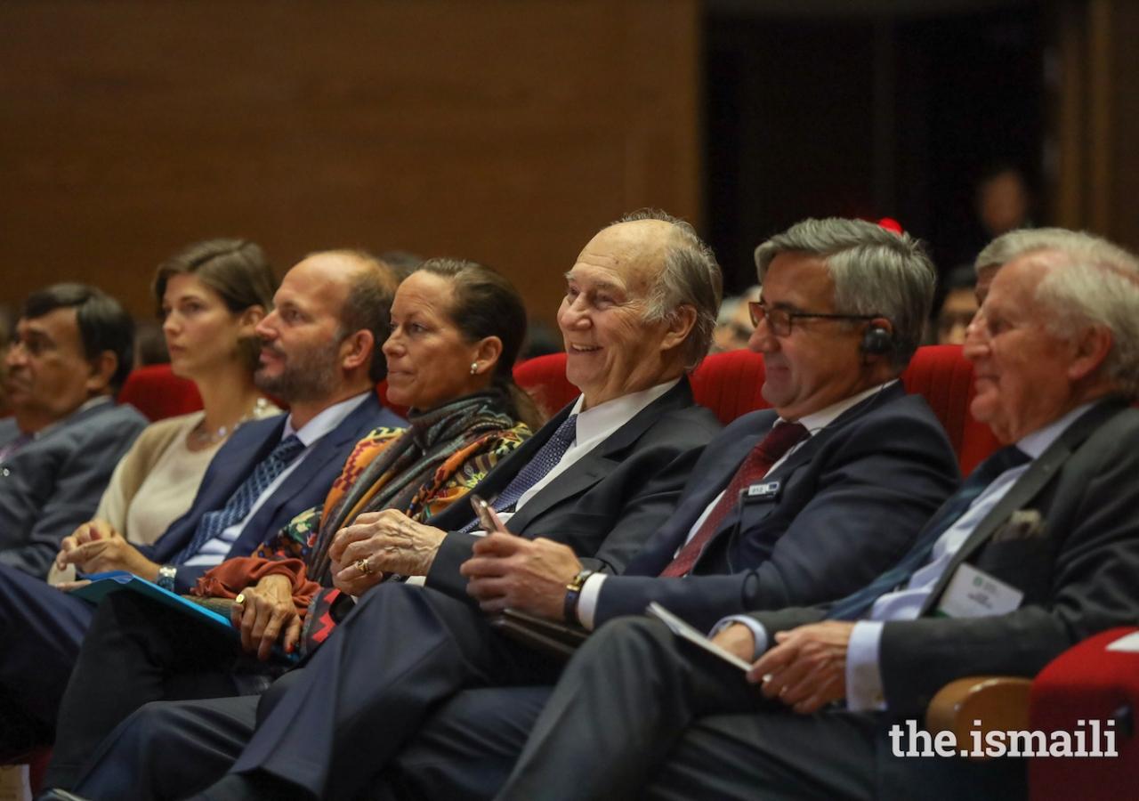 Mawlana Hazar Imam was joined by Princess Zahra, Prince Hussain, and Princess Salwa at the 2019 Aga Khan Award for Architecture Winners' Seminar.