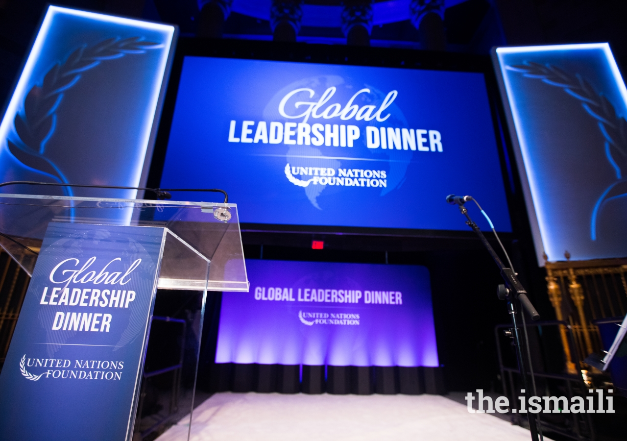 The stage at Gotham Hall - the venue for the 2017 United Nations Global Leadership Dinner