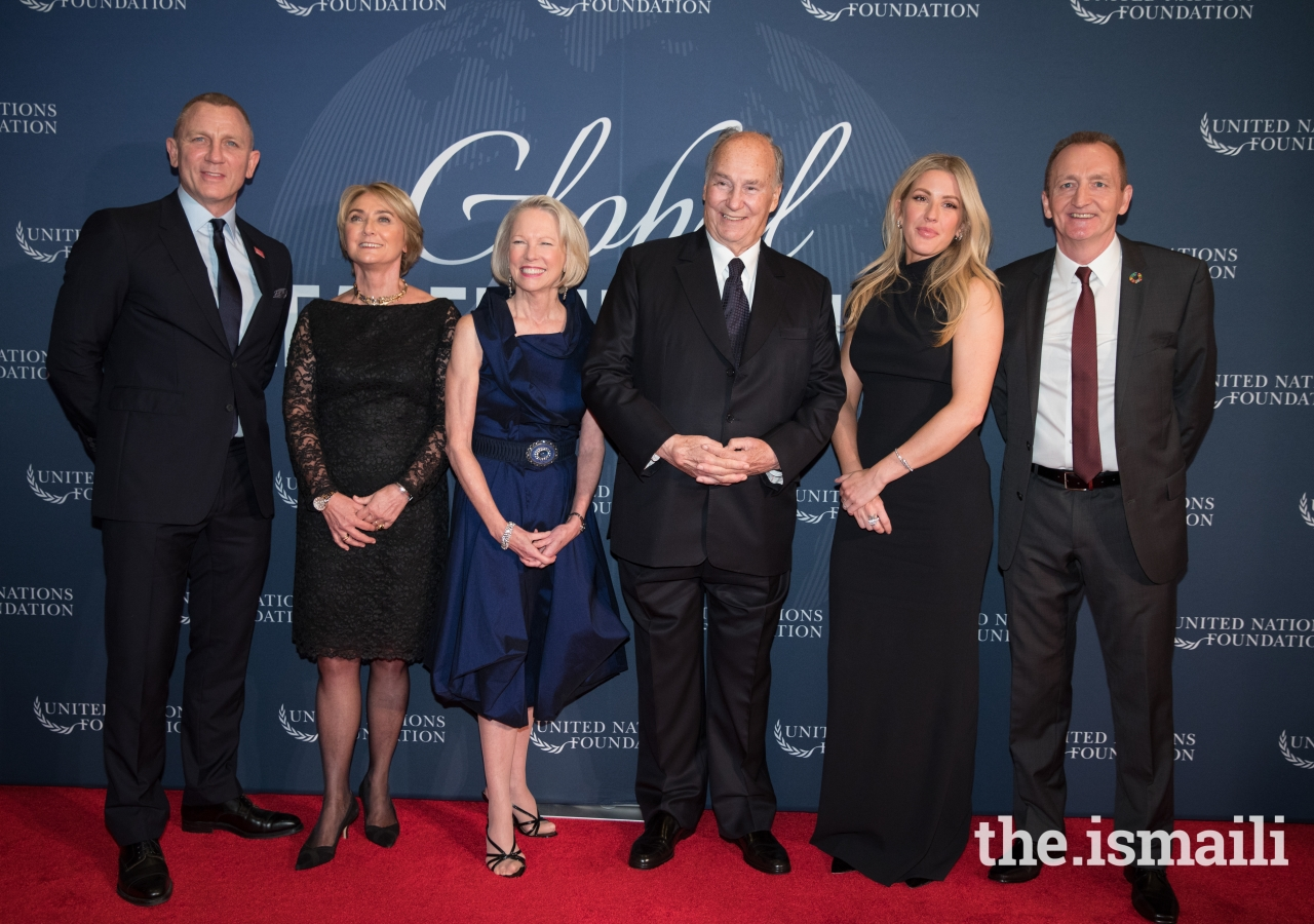 Honourees and Special Guests at the 2017 United Nations Global Leadership Dinner. From left to right: Daniel Craig, Agnès Marcaillou, Kathy Calvin, Mawlana Hazar Imam, Ellie Goulding, Grant F. Reid