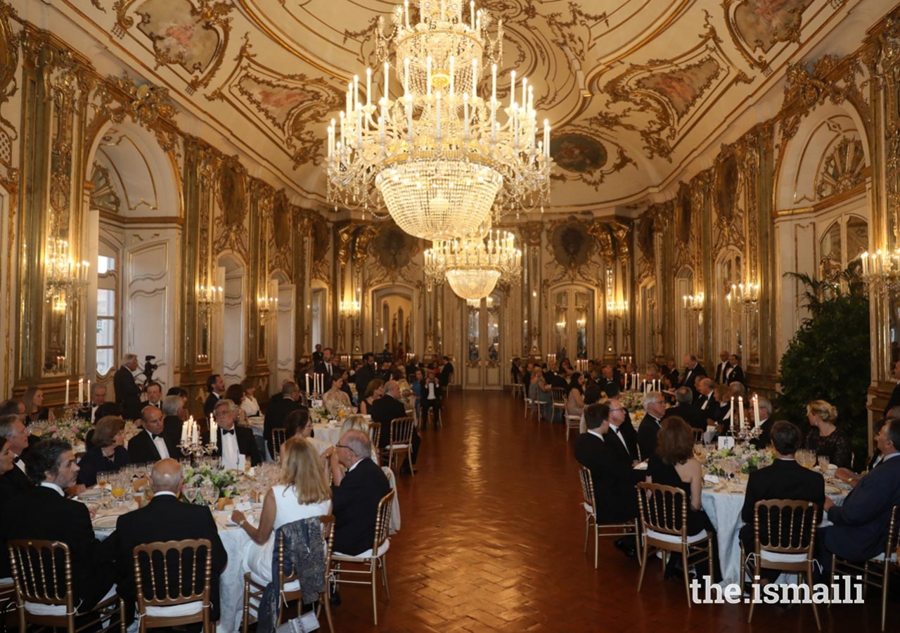 Mawlana Hazar Imam and members of his family were hosted for a state dinner at the Palace of Queluz on 9 July 2018.