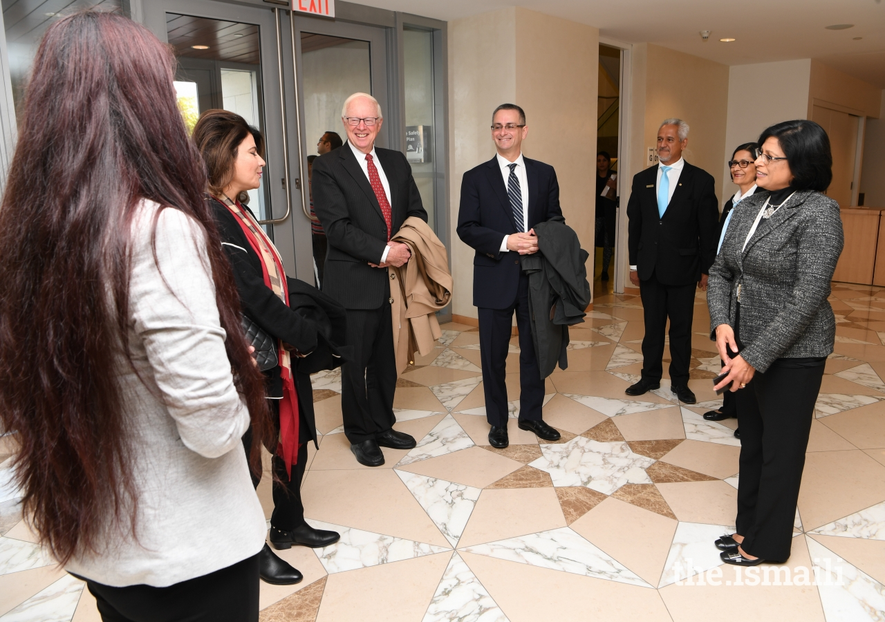 President of the Ontario Ismaili Council, Sheherazade Hirji, and volunteers welcomed the guests to the Ismaili Centre, Toronto.