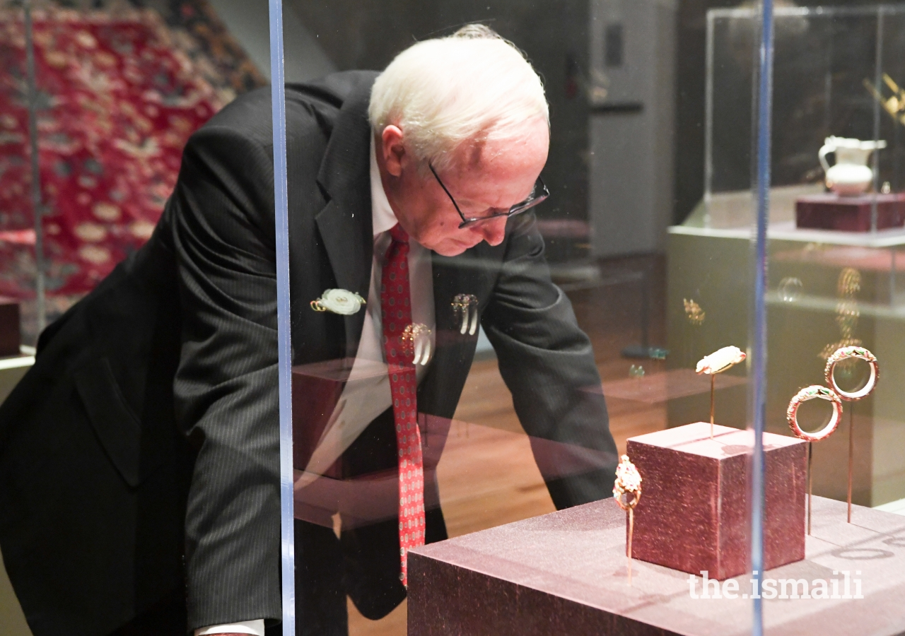 Dr. Donald Miller admires the opulent jewelry from the Special Exhibition, Emperors & Jewels: Treasures from the Indian Courts from the Al-Sabah Collection, Kuwait, at the Aga Khan Museum.