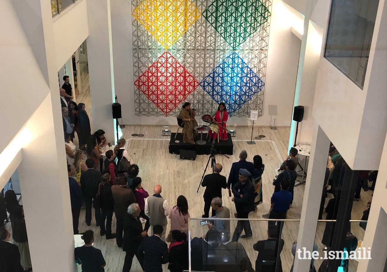 Guests enjoy a musical performance at the closing reception of the Zee Jaipur Literature Festival, London, held at the Aga Khan Centre.