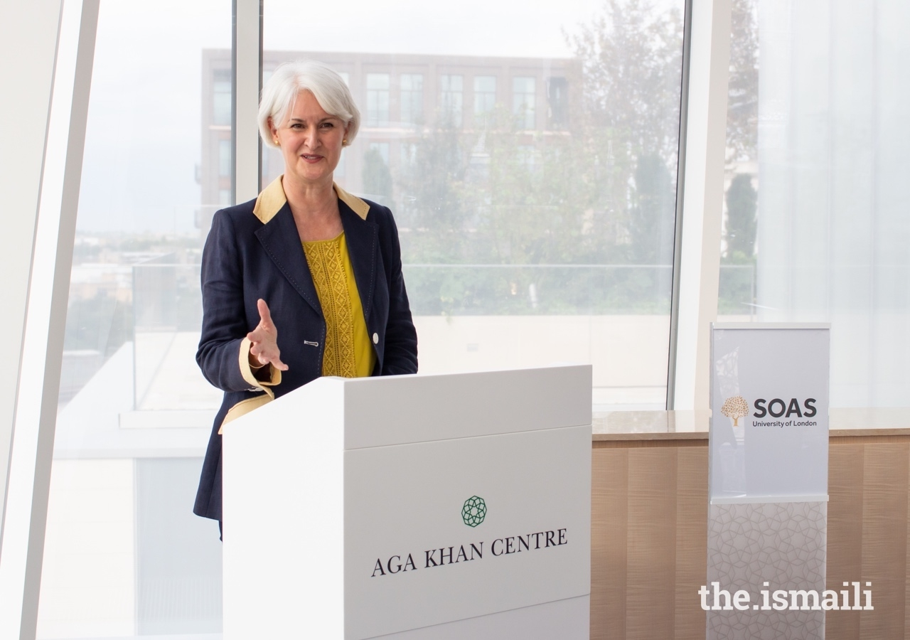 Professor Deborah Johnston, Pro-Director of Learning and Teaching at SOAS, addresses guests at the signing of a Memorandum of Understanding with the Institute of Ismaili Studies.