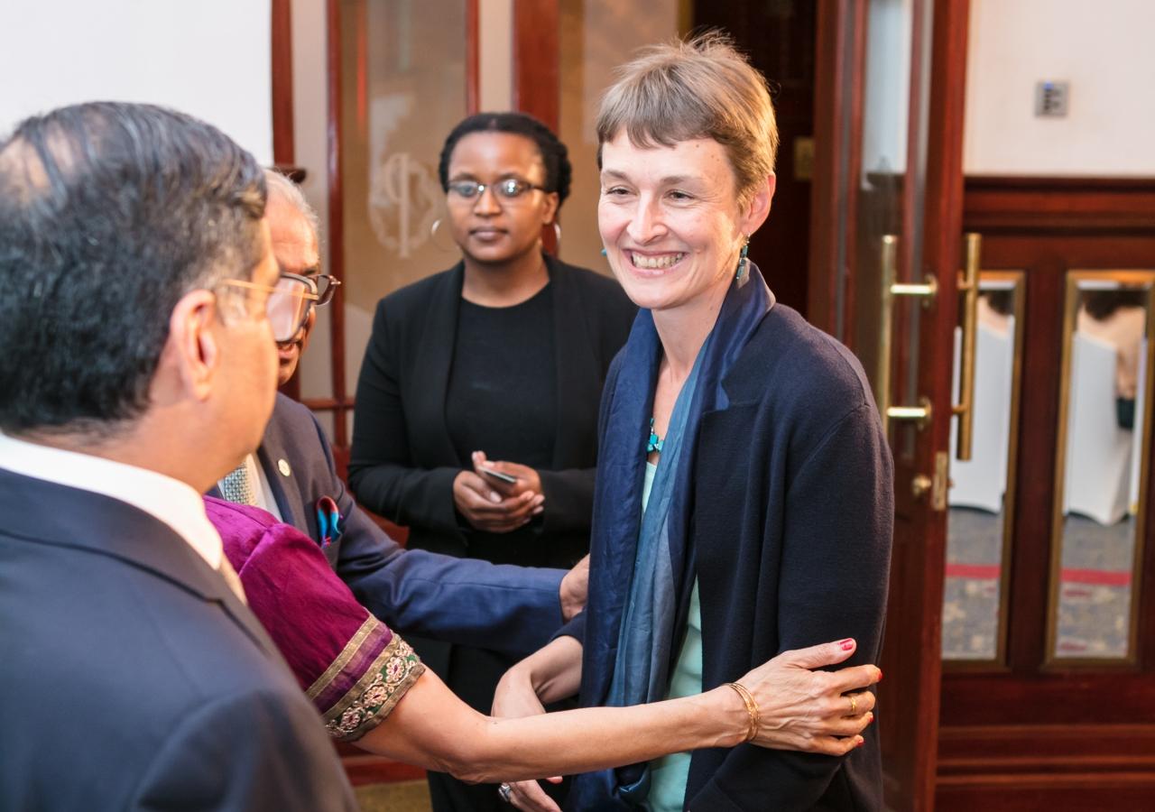 The British High Commissioner, Ms Joanna Kuenssberg, arriving at the event.