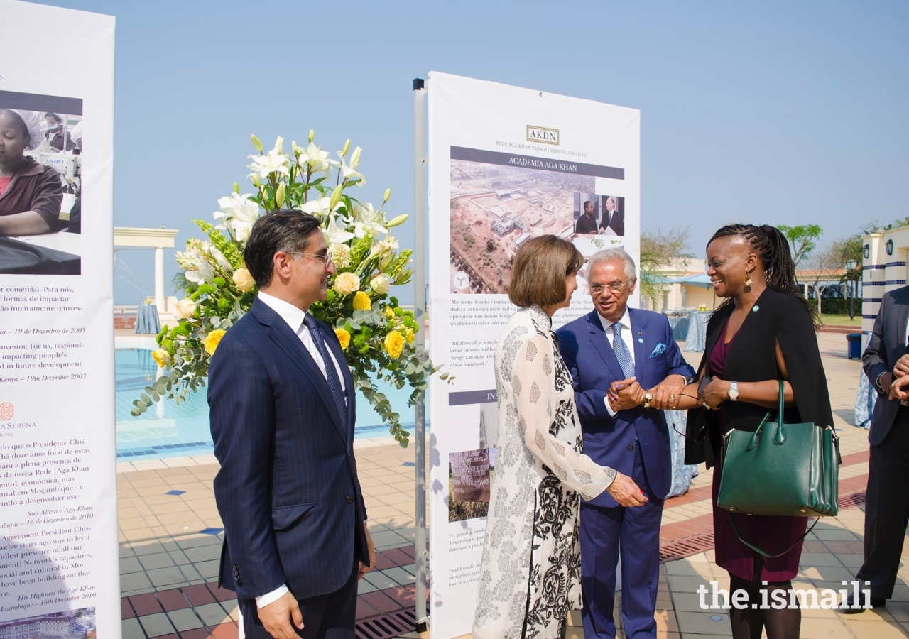 Mr Nazim Ahmad, along with his wife Mrs Khurshid Bachu, and the President of the Ismaili Council for Mozambique, Mr Amin Rawjee, welcome the High Commissioner of the United Kingdom, Ms NneNne Iwuji-Eme.
