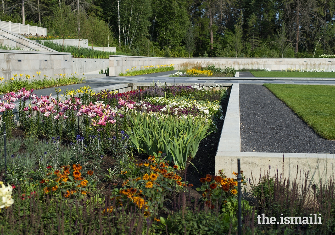 Sunken garden beds are designed with varying water levels for potential use in wetland plant research.