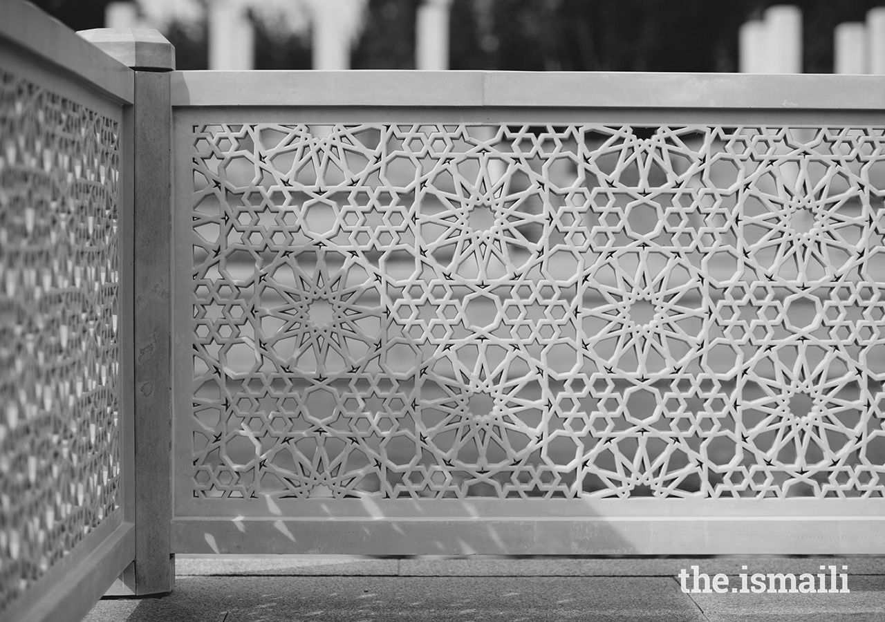 Islamic geometric patterning is used throughout the garden, on paving stones and in screen walls.