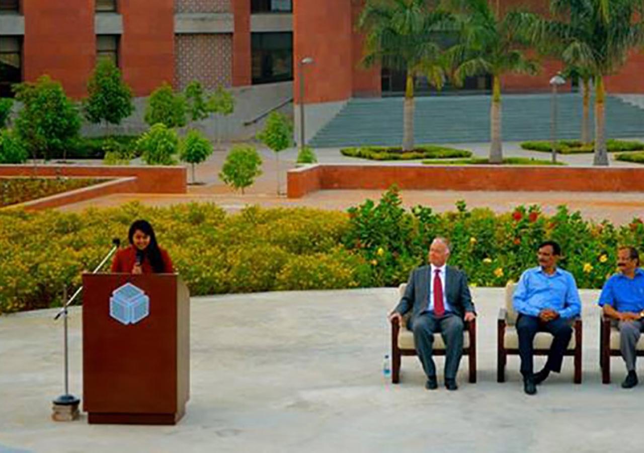 Alisha Sonawalla representing India at an Aga Khan Academy Mock United Nations event. Aga Khan Academy, Hyderabad