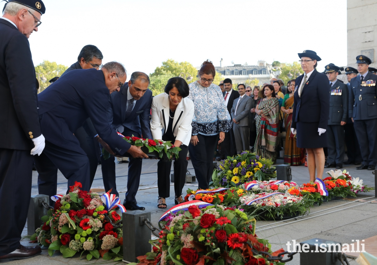 Leaders of the Jamat lay a wreath at the memorial event to recognise all who fought alongside France during the First World War a century ago.