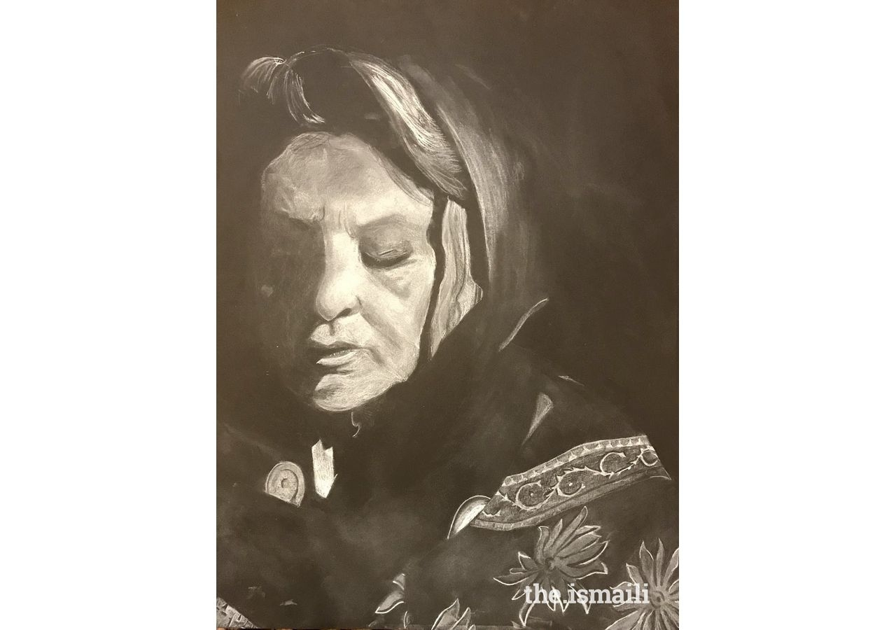 Elevated Spirit, a portrait of the artist's grandmother, Saira Iqbal, Dallas