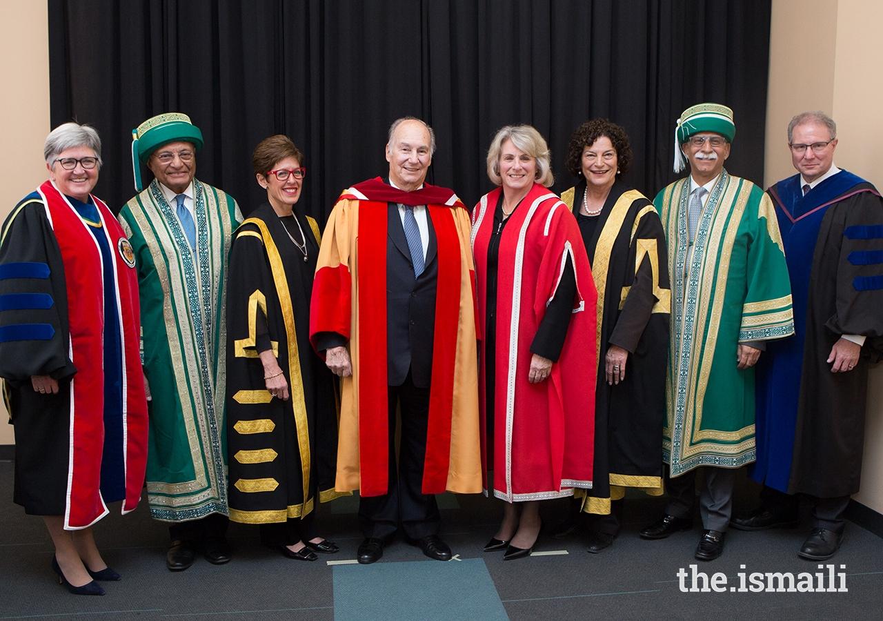 Mawlana Hazar Imam with senior leadership of the University of Calgary, Aga Khan University, and University of Central Asia.