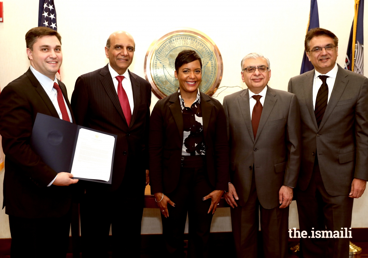 Keisha Lance Bottoms, Mayor of Atlanta, Dan Gordon, COO, City of Atlanta, Zahir Ladhani, Vice-President, Council for USA, Dr. Barkat Fazal, President, Council for USA, and Murad Abdullah, President of the Council for the Southeastern US.