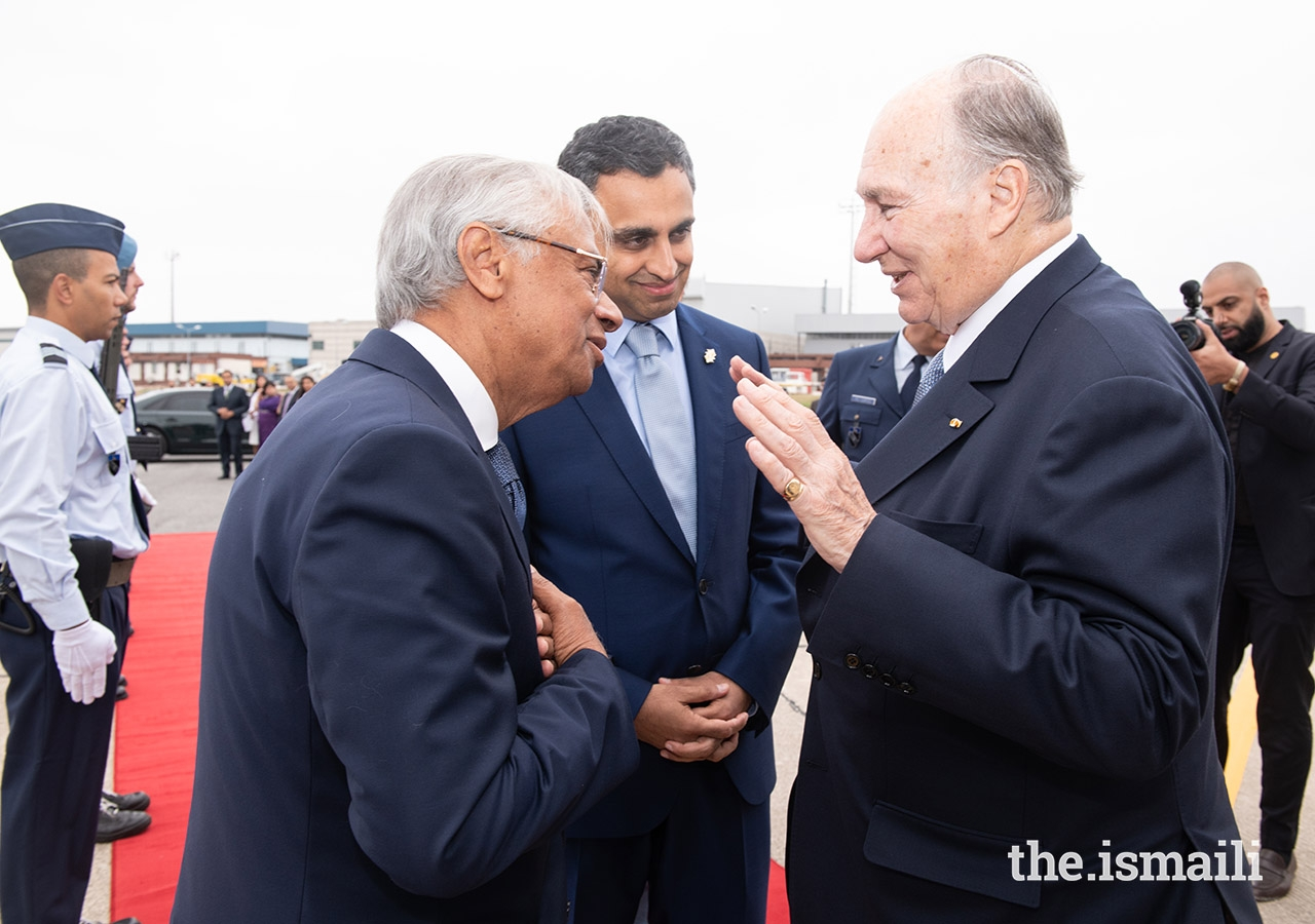 Ismaili Council for Portugal President Rahim Firozali and AKDN Resident Representative for Portugal Nazim Ahmad bid Mawlana Hazar Imam farewell upon his departure from Lisbon.