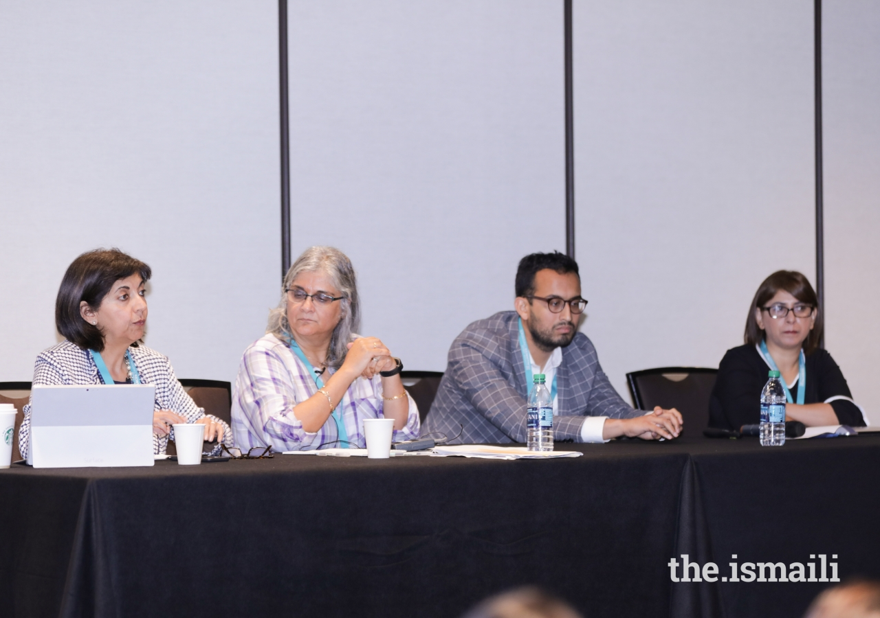 During the Media and Journalism in the 21st century session, speakers Nomaan Merchant, Nadya Shakoor, and Shelina Kassam address the audience and share their personal experiences of being associated with the media industry.