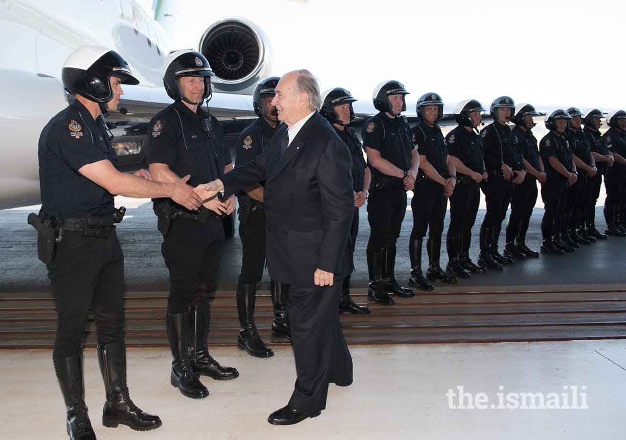 Mawlana Hazar Imam meets with all of the officers who served in his police escort during his stay in Vancouver.