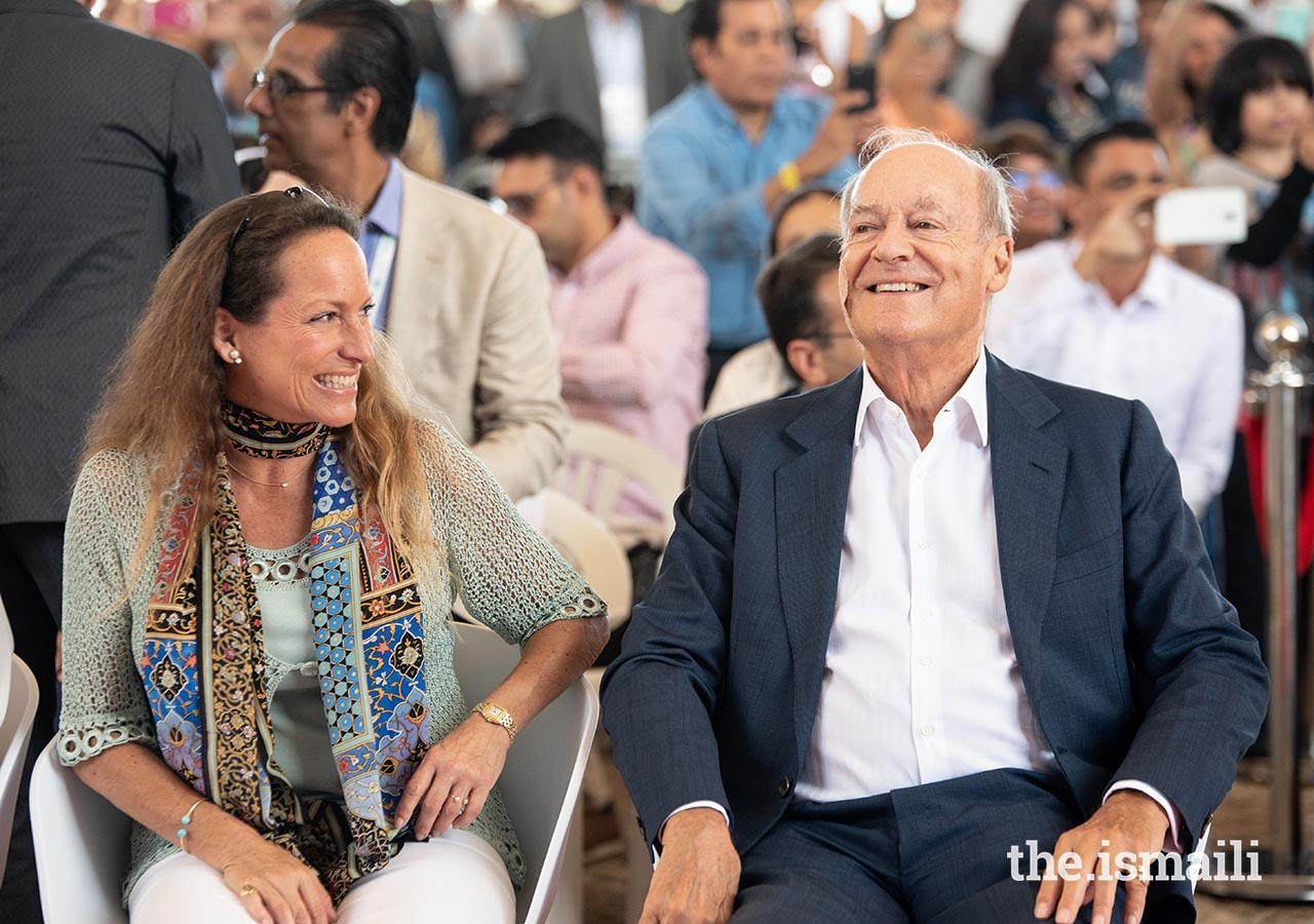 Prince Amyn and Princess Zahra enjoy a light moment at the International Talent Showcase in Lisbon.