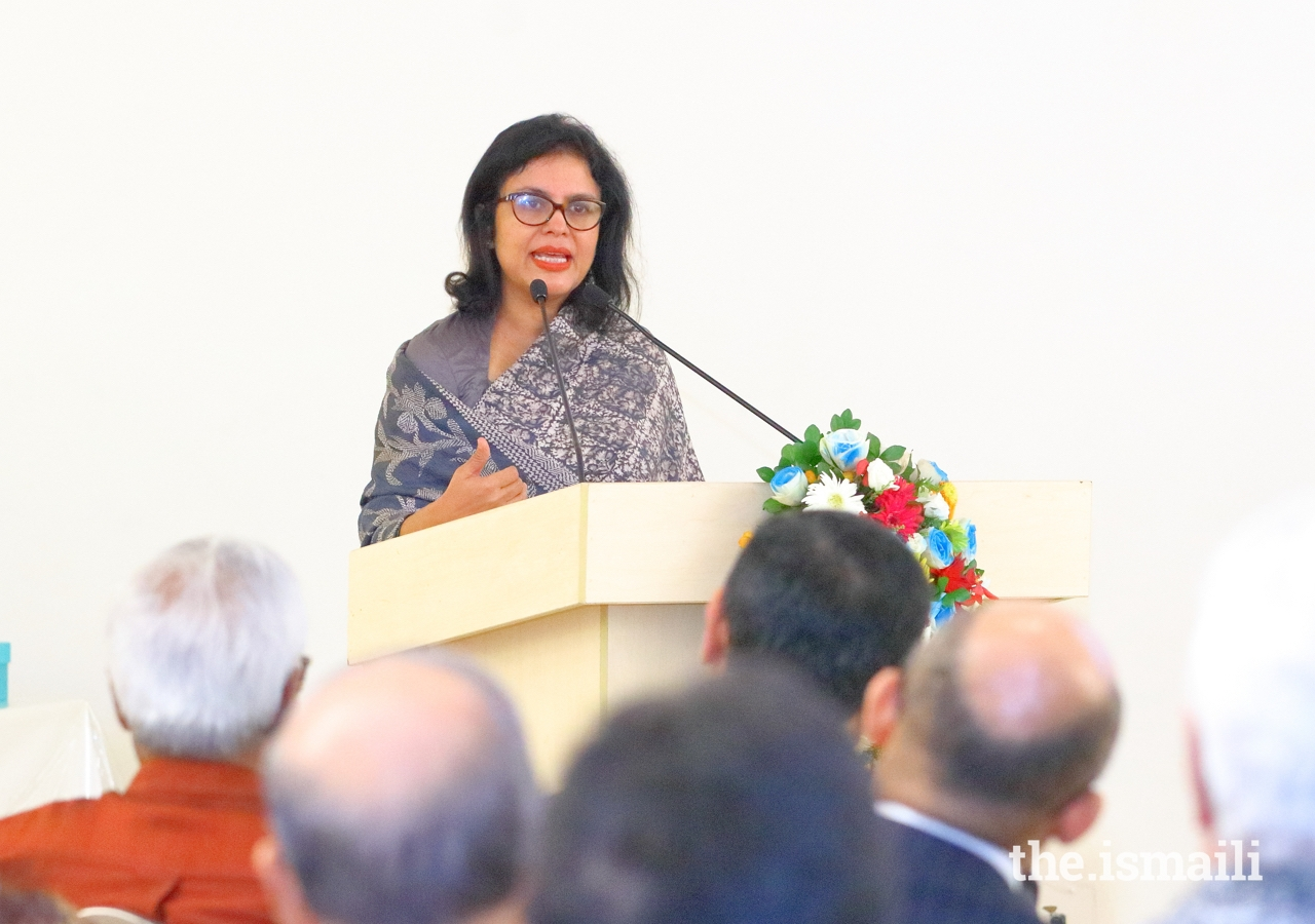 Dr Rubana Huq, Managing Director of the Mohammadi Group, speaks of the dynamic potential of human agency at the event entitled 'A cosmopolitan ethic in action.'