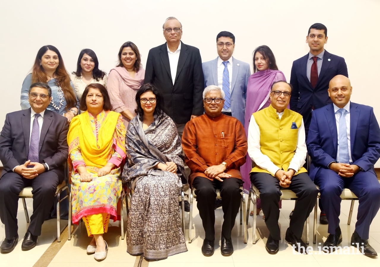 Leaders of the Jamat and AKDN join Dr Rubana Huq (centre left) and Sir Fazle Hasan Abed (centre right) for a group photograph.