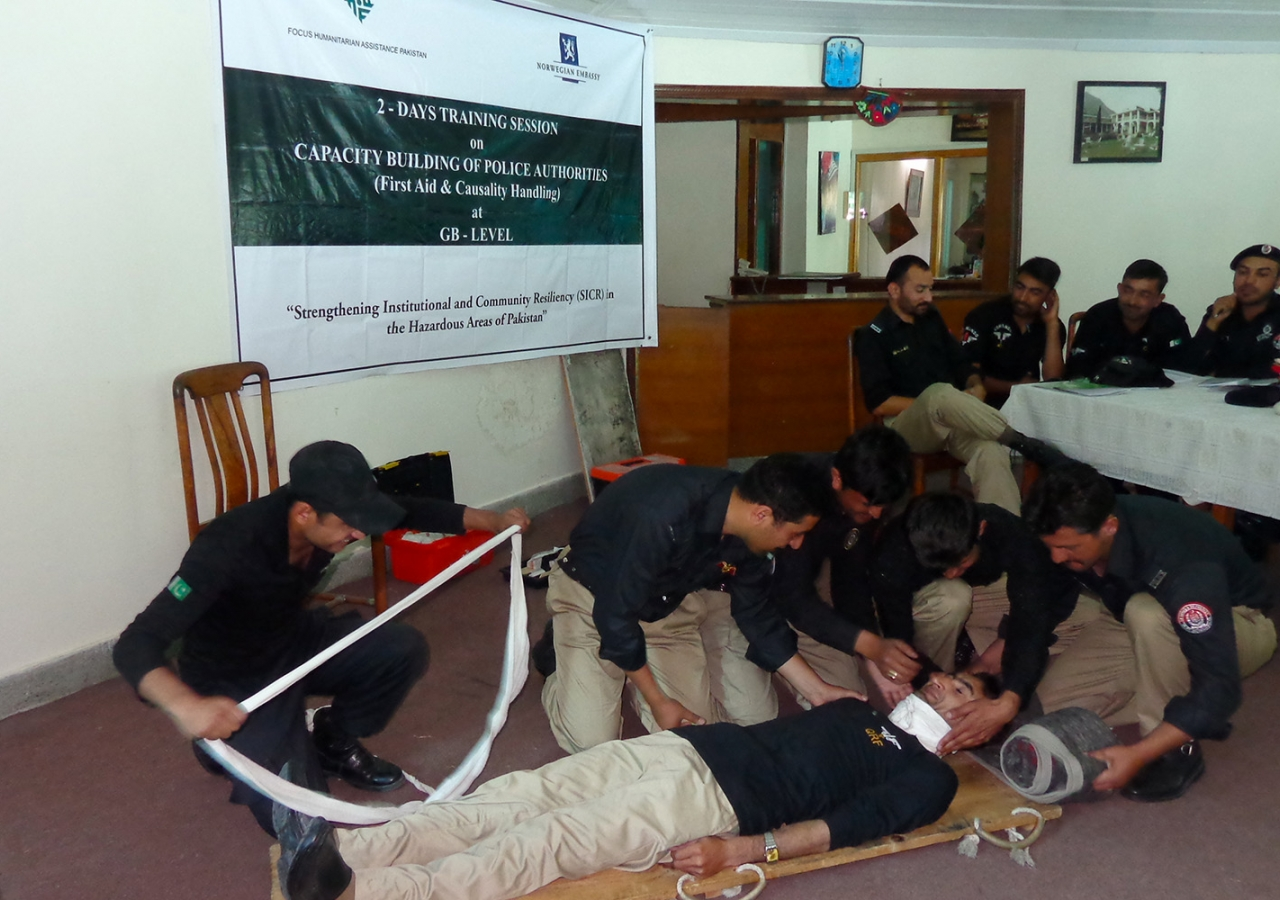 In Chitral and Gilgit, FOCUS delivers training to local police officers to build community resiliency. FOCUS