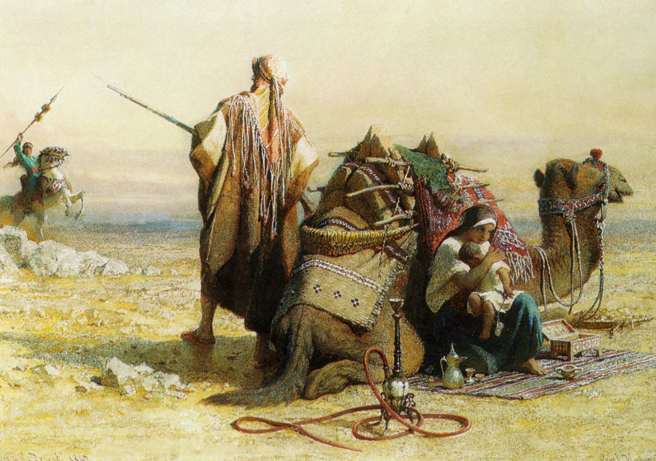 """""""Danger in the Desert"""" by Carl Haag (1867). European orientalist artists often depicted the Muslim world through a lens of violence, barbarism, backwardness, exoticness, and in other cases, presenting women as oppressed."""