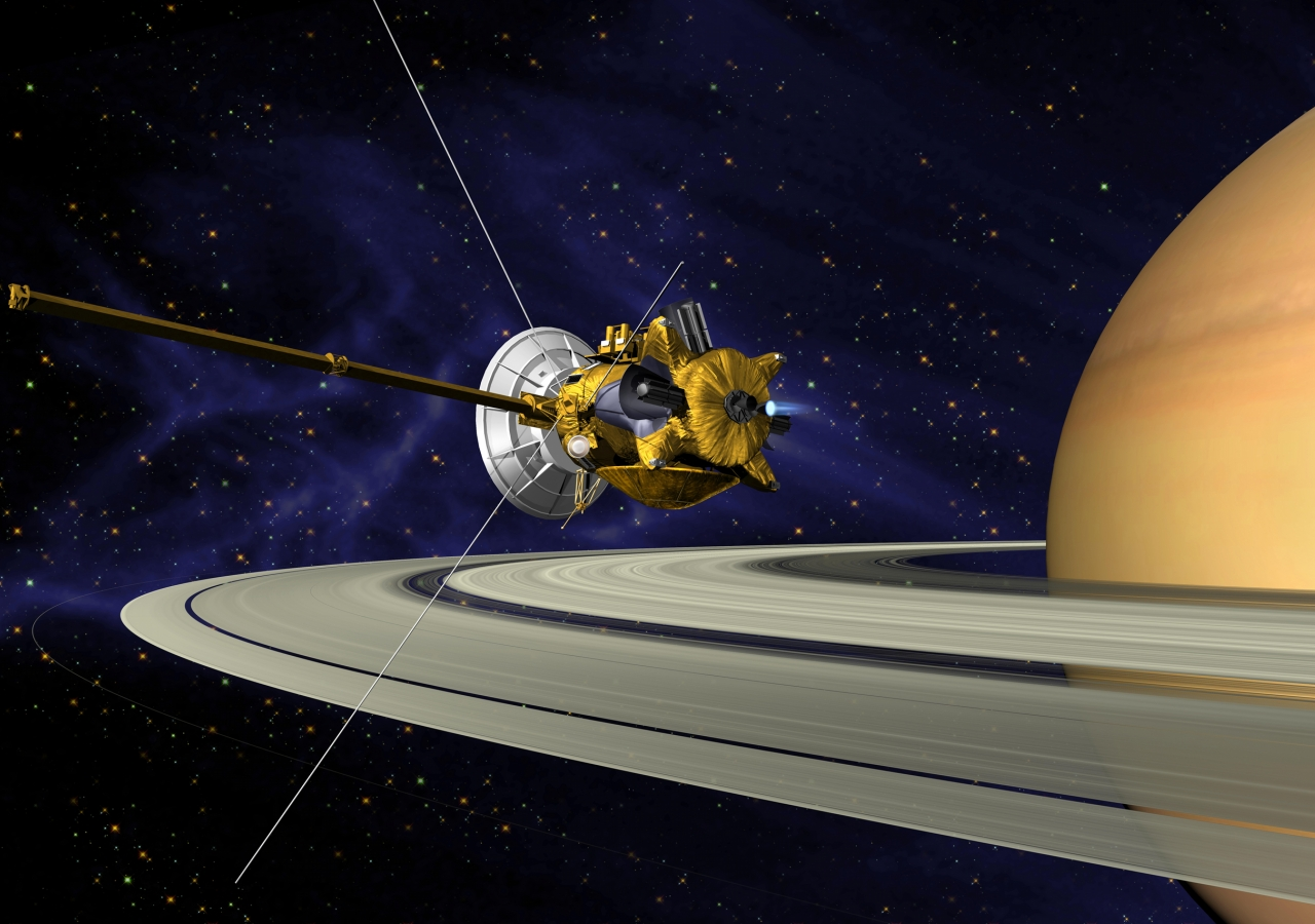 Artist's impression of the Cassini spacecraft, which finally crashed into Saturn in 2017, after providing a wealth of information about the planet and its moons.
