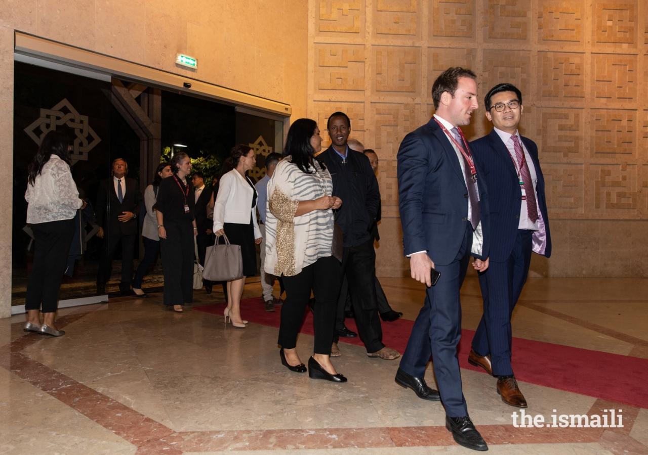 Guests arrive at the Ismaili Centre Lisbon for an evening reception hosted on the occasion of the WLA-Club de Madrid's Shared Societies Conference in October 2018.