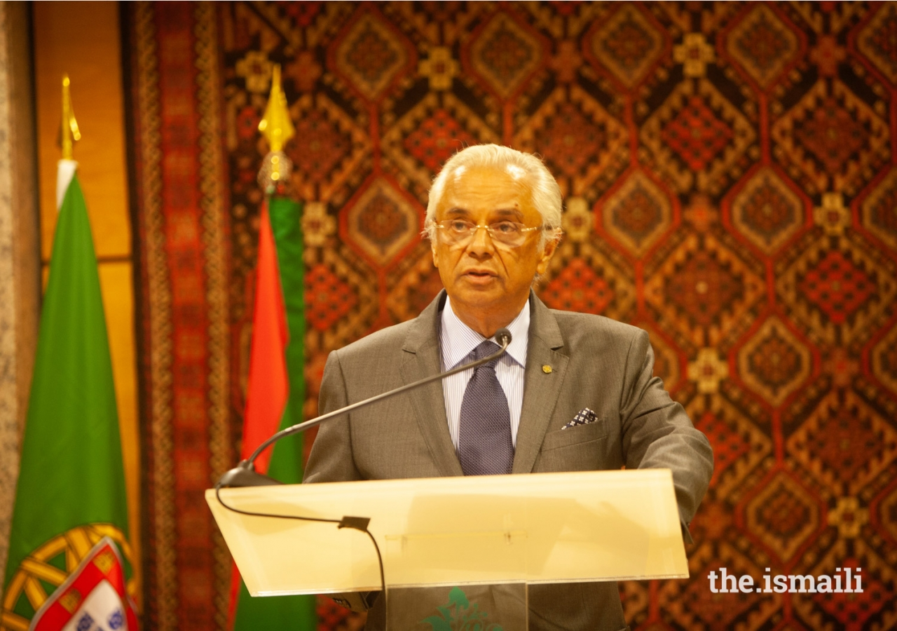 Nazim Ahmad delivers a welcome address to guests gathered at the Ismaili Centre Lisbon.