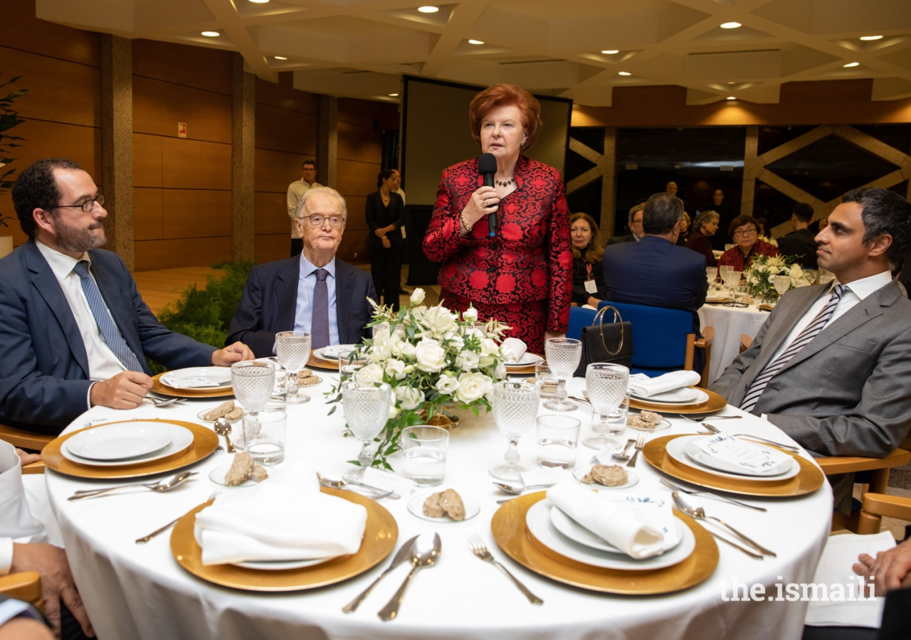 Vaira Vike-Freiberga, President of the WLA-Club of Madrid addresses guests, while the Secretary of State of Education João Costa, former President of Portugal Jorge Sampaio, and Ismaili Council President Rahim Firozali look on.