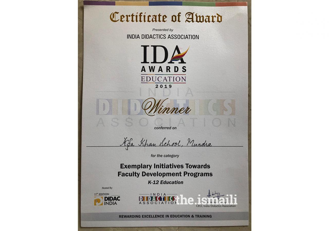 IDA Award Certificate