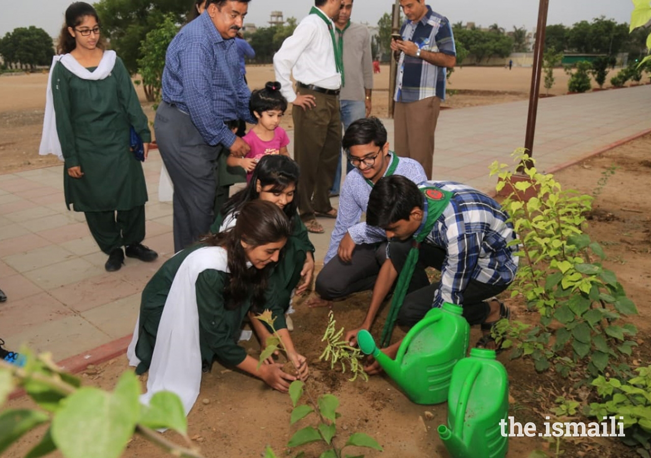 Girl Guides and Boy Scouts plant trees together to commemorate Pakistan's 71st Independence Day.