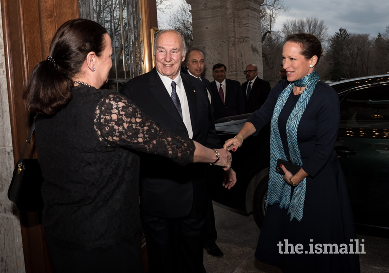Mawlana Hazar Imam and Princess Zahra being greeted at Rideau Hall, the official residence of the Governor General of Canada, where Hazar Imam was being honoured by various notable Canadians for his contributions to Canada and the world.